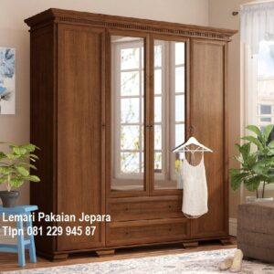 Lemari pakaian 4 pintu jati Jepara model desain gambar almari baju kayu solid empat kaca minimalis mewah klasik laci terbaru harga murah
