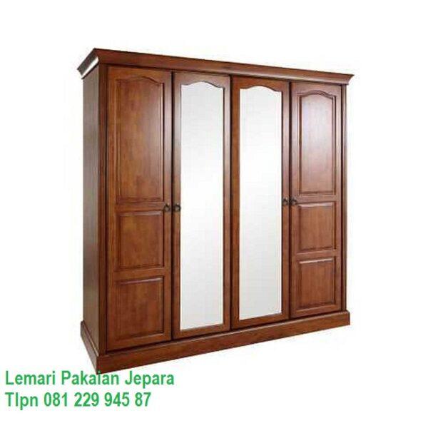 lemari pakaian 4 pintu kayu jati harga murah model desain almari baju Jepara minimalis mewah modern dan klasik terbaru daun kaca cermin