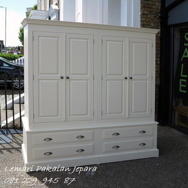 Lemari pakaian 4 pintu modern minimalis mewah dan klasik terbaru warna putih cat duco model desain almari baju empat laci harga murah
