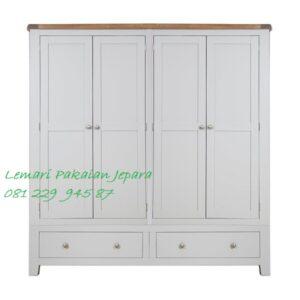Model lemari pakaian 4 pintu terbaru warna putih desain baru minimalis mewah modern dan klasik empat daun laci kayu Jepara harga murah