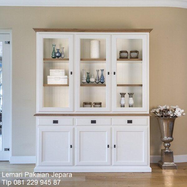 Lemari dapur minimalis mewah modern dan klasik terbaru model desain kitchen set 3 pintu kaca pajangan dan hias kayu warna putih harga murah