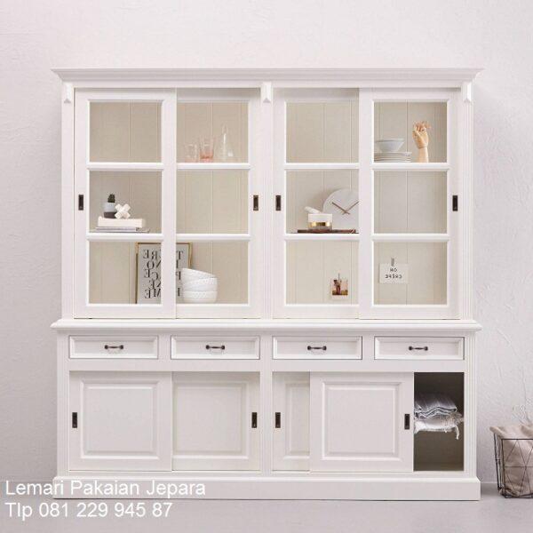Lemari dapur kaca minimalis mewah modern dan klasik terbaru model desain kitchen set pajangan 4 pintu warna putih laci sliding harga murah