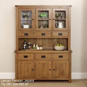 Lemari dapur kayu jati Jepara model desain furniture kitchen set minimalis mewah klasik sederhana terbaru 3 pintu kaca dan laci harga murah