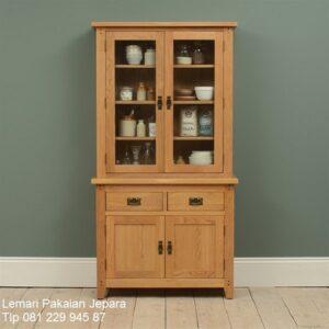 Lemari dapur kayu sederhana minimalis dan klasik terbaru model desain furniture kitchen set jati Jepara 2 pintu kaca pajangan harga murah