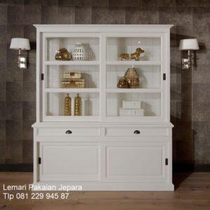 Lemari dapur minimalis terbaru modern dan mewah klasik warna putih cat duco 2 pintu kaca sliding model desain kitchen set harga murah