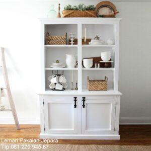 Lemari dapur minimalis terbaru sederhana dan mewah klasik modern warna putih cat duco model desain pajangan 2 pintu kaca harga murah