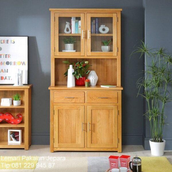 lemari dapur murah kayu jati Jepara model desain minimalis mewah dan klasik 2 pintu kaca dan laci pajangan Bandung harga termurah