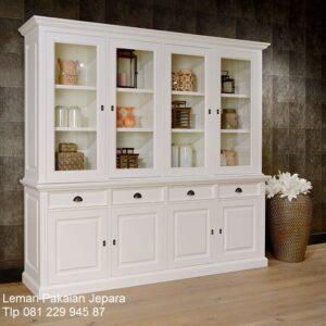 Harga lemari pajangan 4 pintu minimalis mewah dan modern model desain buffet hias empat laci sliding kaca terbaru warna putih harga murah