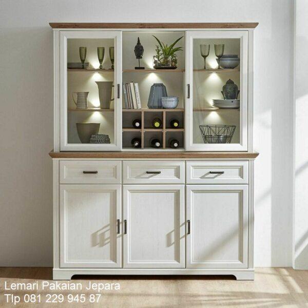 Lemari pajangan minimalis mewah modern dan terbaru warna putih cat duco 3 pintu kaca kristal kotak model desain buffet hias kayu harga murah