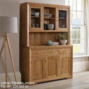 Lemari pajangan kayu jati Jepara model desain buffet hias minimalis mewah dan modern klasik terbaru 3 pintu kaca biasa harga murah