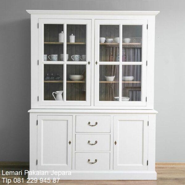 Lemari pajangan minimalis murah warna putih cat duco 3 pintu kaca kristal model desain buffet hias mewah dan modern terbaru harga murah