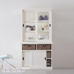 Lemari pajangan minimalis murah kaca model desain buffet hias mewah modern sederhana terbaru 2 pintu sliding warna putih kayu Jepara