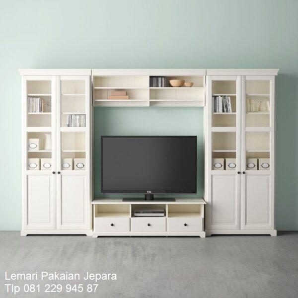Lemari pajangan tv minimalis mewah modern dan klasik terbaru model desain meja buffet hias warna putih pintu kaca kayu Jepara harga murah