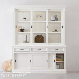 Model lemari pajangan minimalis terbaru mewah dan modern warna putih desain buffet hias pajang 3 pintu kaca ruang tamu kecil harga murah